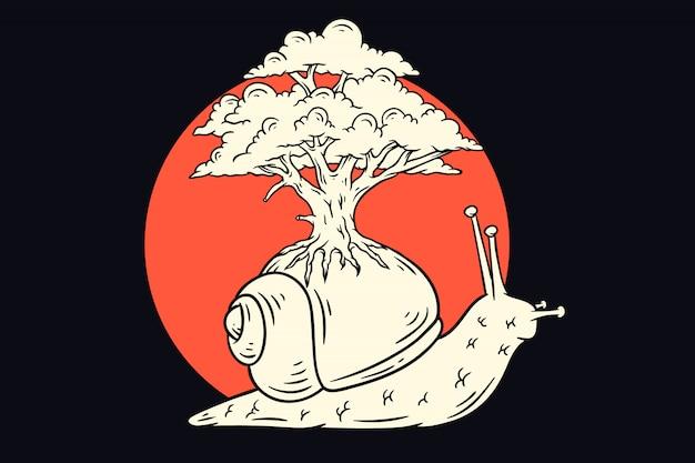 Lentamente lumaca con l'illustrazione dell'albero Vettore Premium