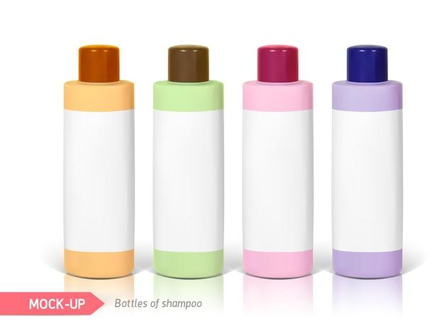 Piccole bottiglie di shampoo con etichetta. mocap per la presentazione dell'etichetta. Vettore Premium