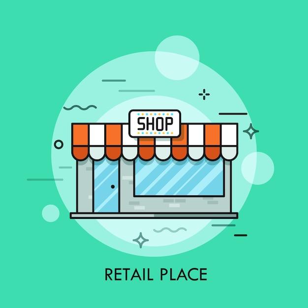 Piccolo negozio carino con tende da sole cartello vetrate e porta d'ingresso concetto di centro commerciale minimarket luogo di vendita al dettaglio Vettore Premium