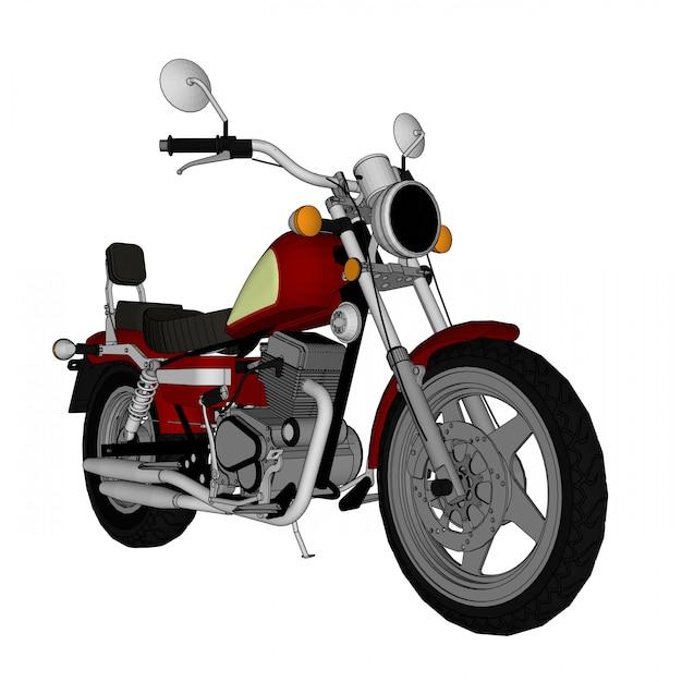 Piccolo look classico rosso chopper. illustrazione con linee di contorno. Vettore Premium