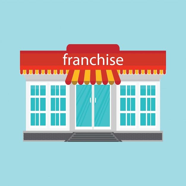 Piccolo negozio o franchising isolato su sfondo blu. Vettore Premium