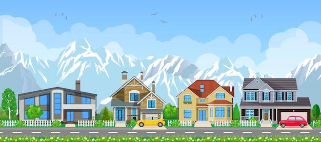 Paesaggio del piccolo villaggio. Vettore Premium