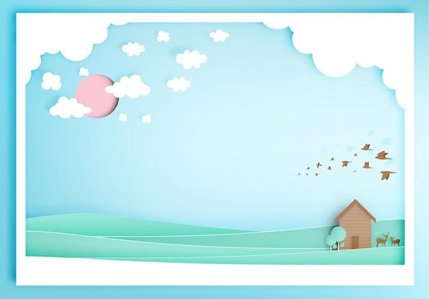 Piccola casa di legno con stile di arte di carta sfondo montagna Vettore Premium