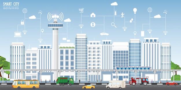 Paesaggio della città intelligente Vettore Premium