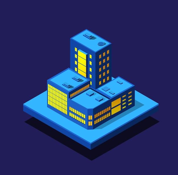 Insieme ultravioletto al neon di notte della città intelligente di case di edifici isometrici Vettore Premium