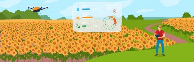 Illustrazione astuta di concetto di agricoltura, carattere piano del coltivatore del fumetto facendo uso del fuco del robot agricolo per il controllo della pianta sul campo dell'azienda agricola Vettore Premium
