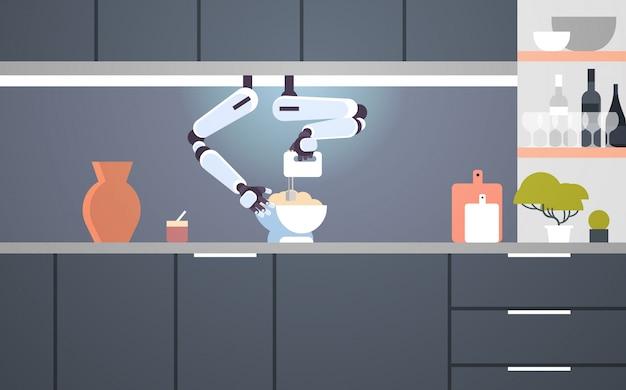 Robot a portata di mano cuoco intelligente con mixer impastare la pasta nella ciotola per cuocere robot assistente innovazione tecnologia concetto di intelligenza artificiale moderna cucina interno piatto orizzontale Vettore Premium