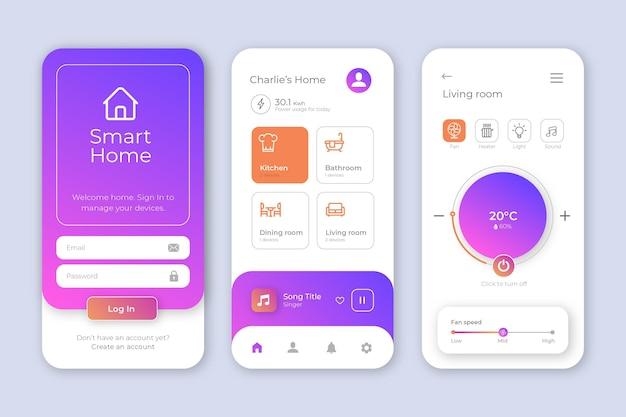 Interfaccia dell'app smart home Vettore Premium