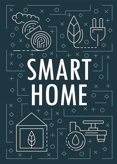 Banner di casa intelligente, struttura di stile Vettore Premium