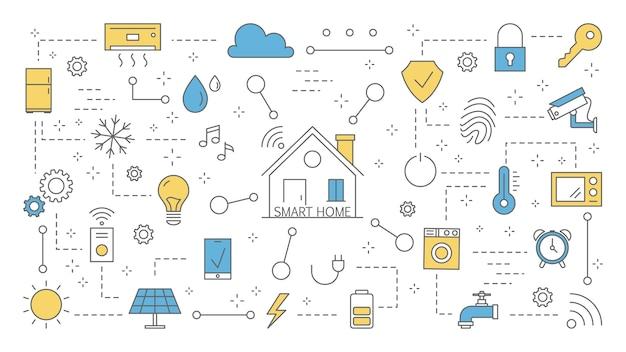 Concetto di casa intelligente. idea di tecnologia moderna e automazione. internet delle cose con comunicazione wireless all'interno della casa. set di icone colorate di linea. illustrazione Vettore Premium