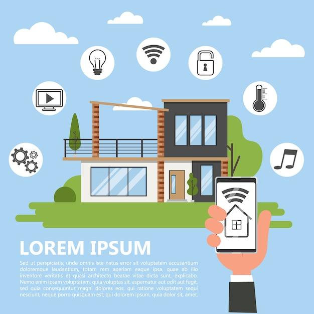 Concetto di casa intelligente. idea di tecnologia wireless Vettore Premium