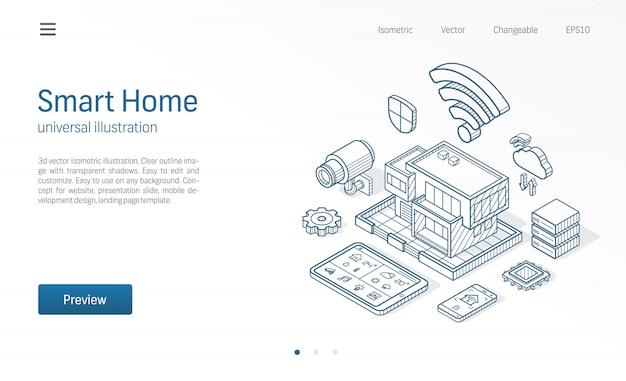 Illustrazione di linea isometrica smart home. casa della tecnologia, controllo rete cctv, icone disegnate schizzo di affari di costruzione di architettura moderna. sistema di automazione, concetto di iot. Vettore Premium
