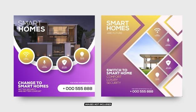 Modelli di post sui social media per case intelligenti Vettore Premium