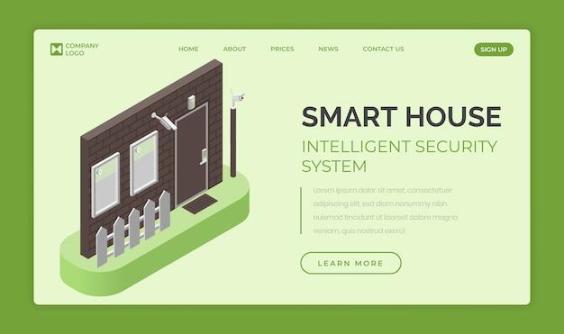 Casa intelligente, modello di pagina di destinazione del sistema di sicurezza intelligente. controllo degli accessi e concetto di sistema di allarme. Vettore Premium