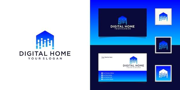 Modello di progettazione di logo di casa intelligente. costruisci il segno del vettore. tecnologia elettronica digitale domestica e biglietto da visita Vettore Premium
