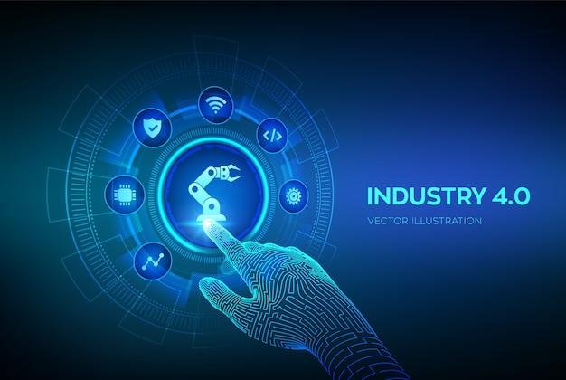 Concetto smart industry 4.0. automazione di fabbrica. mano robotica toccando l'interfaccia digitale. Vettore Premium