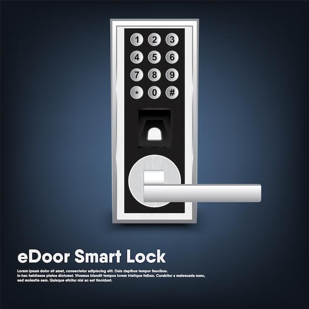 Smart lock of security porta elettronica per ingresso casa, intelligenza automatica tecnologia digitale bloccata con chiave della porta moderna. Vettore Premium