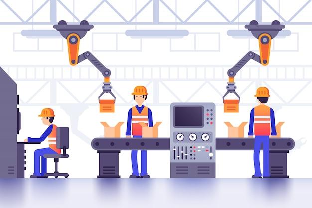 Trasportatore di fabbrica di fabbricazione intelligente. fabbricazione industriale moderna, illustrazione al tratto controllata dalle macchine della fabbrica del computer Vettore Premium
