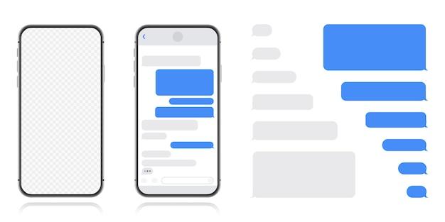 Smart phone con schermata di chat di messenger. bolle modello sms per dialoghi di composizione. stile piatto illustrazione moderna. Vettore Premium