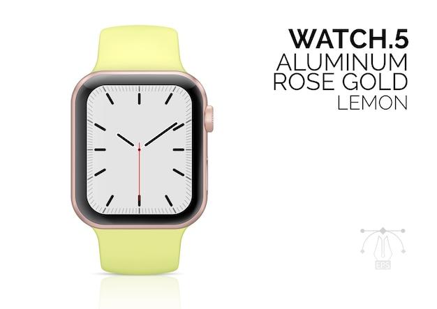 Orologio intelligente con illustrazione realistica del braccialetto color limone. Vettore Premium
