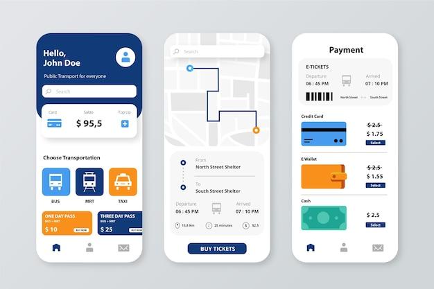App per smartphone per modello di trasporto pubblico Vettore Premium