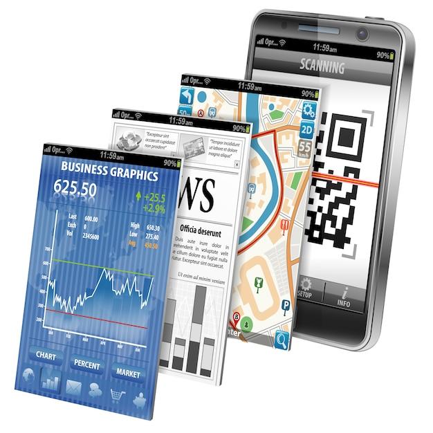 Applicazioni per smartphone Vettore Premium