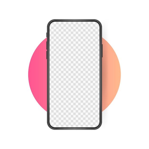 Schermo vuoto per smartphone, telefono mockup. Vettore Premium