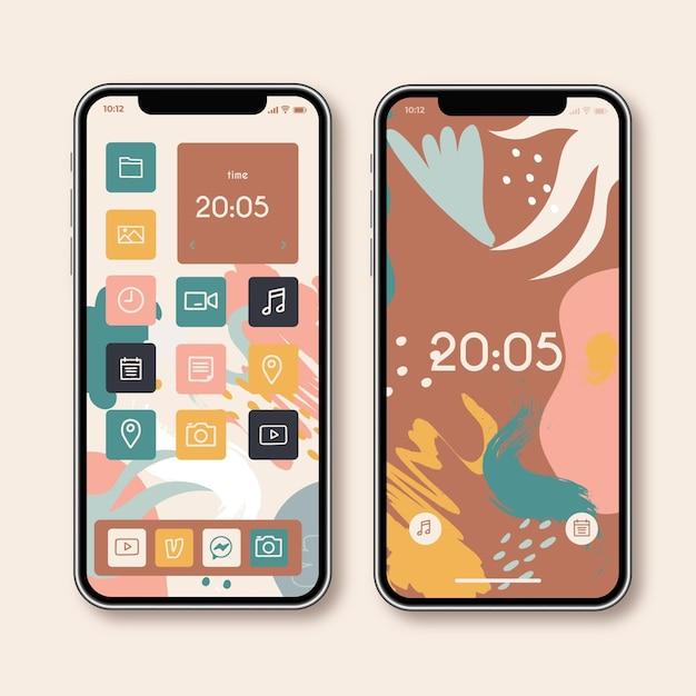 Schermata iniziale dello smartphone Vettore Premium