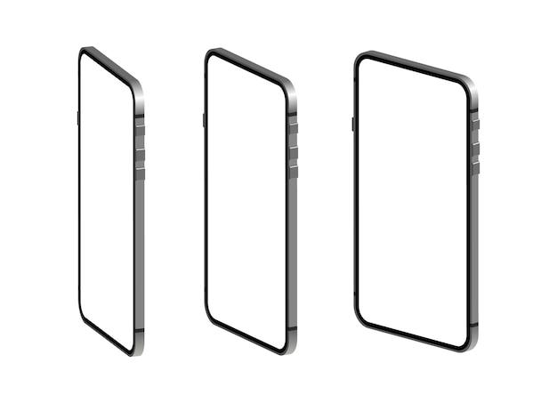 Smartphone in isometria. telefono con schermo bianco vuoto. Vettore Premium