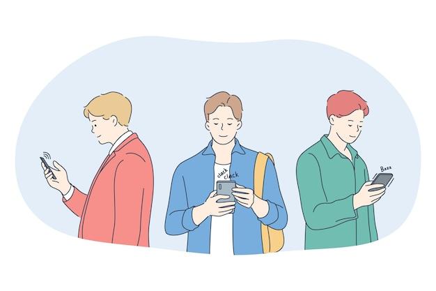 Smartphone, comunicazione online, concetto di chat. giovani uomini in piedi con gli smartphone, in chat Vettore Premium