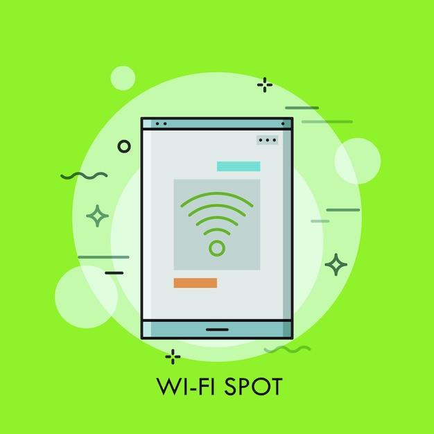 Schermo dello smartphone o del tablet pc con il simbolo wifi su di esso concetto di punto di connessione internet wireless gratuito Vettore Premium