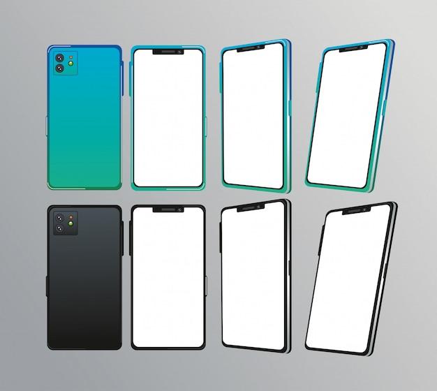 Set di dispositivi smartphone Vettore Premium