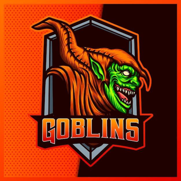 Sorridi goblin esport e logo della mascotte sportiva Vettore Premium