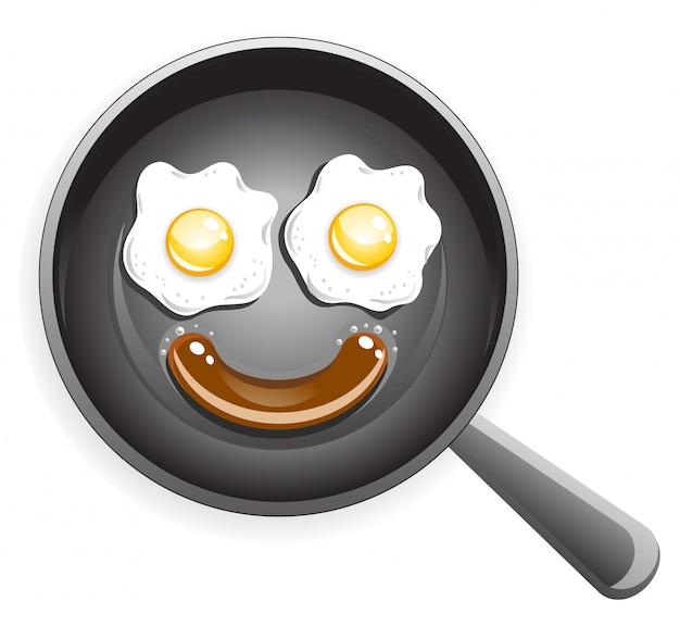 Faccina sorridente da uovo fritto e salsiccia Vettore Premium