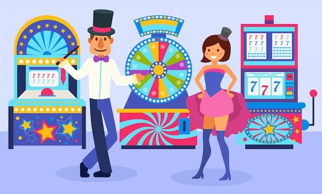 Uomo festivo vestito sorridente e ragazza dell'assistente del mago che stanno davanti all'illustrazione delle slot machine. ruota della fortuna e diverse macchine da gioco. Vettore Premium