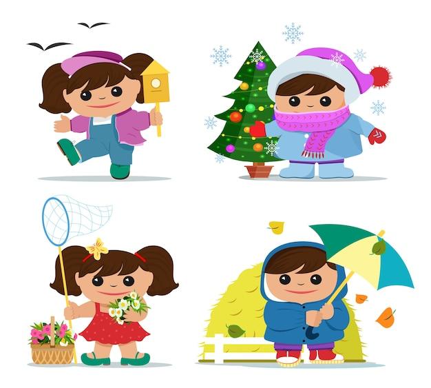 Sorridente ragazze divertenti in abiti estivi, primaverili, autunnali e invernali. Vettore Premium