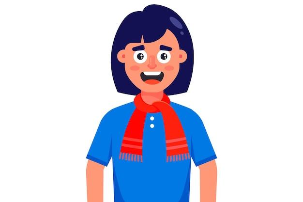 Ragazza sorridente in una sciarpa lavorata a maglia rossa. illustrazione di carattere piatto isolato su sfondo bianco. Vettore Premium