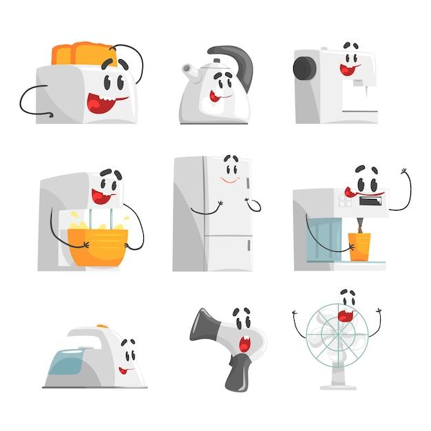 Apparecchi per la casa sorridenti. apparecchiature elettriche domestiche come personaggi dei cartoni animati. illustrazioni dettagliate colorate Vettore Premium
