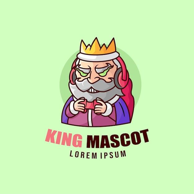 Vecchio re sorridente che gioca il logo della mascotte del video gioco Vettore Premium