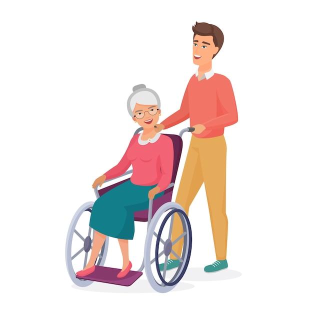 Sorridente giovani uomini maschii si prende cura di anziani disabili mamma nonna in sedia a rotelle. Vettore Premium