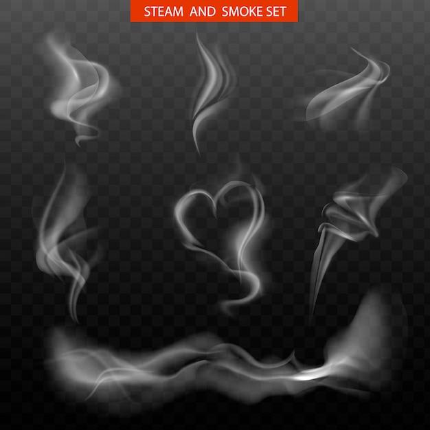 Set realistico di fumo. Vettore Premium
