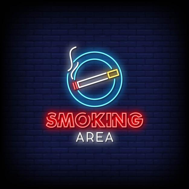 Testo di stile delle insegne al neon di area fumatori Vettore Premium