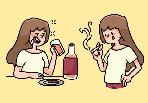 Fumare e bere abitudini della donna fumetto illustrazione Vettore Premium