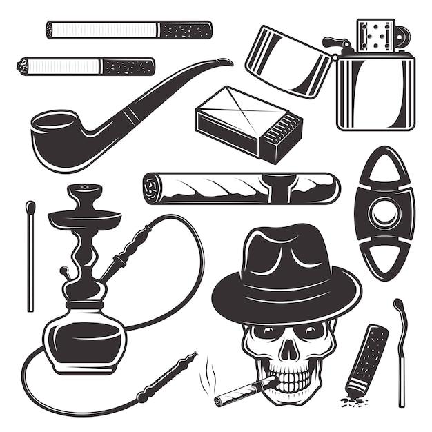 Strumenti e accessori per fumatori, set di prodotti del tabacco Vettore Premium