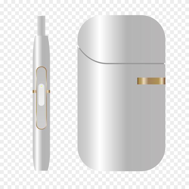 Fumo, dispositivo bianco, sistema di riscaldamento del tabacco. icona di sigaretta elettronica iqos fumo. illustrazione realistica Vettore Premium