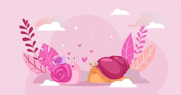 Composizione di lumaca, amore di lumaca, cuore felice, animale a spirale, romantico carino, due, illustrazione. felicità di sfondo creativo, relazione d'amore, bella coppia. Vettore Premium