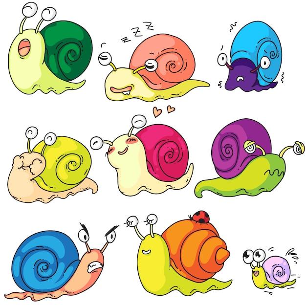 Set di lumache. il carattere sveglio della lumaca del fumetto ed il bambino del mollusco con le coperture hanno messo su fondo bianco. creatura divertente che mostra diverse emozioni. illustrazione della lumaca lumaca ritmo di lumaca Vettore Premium