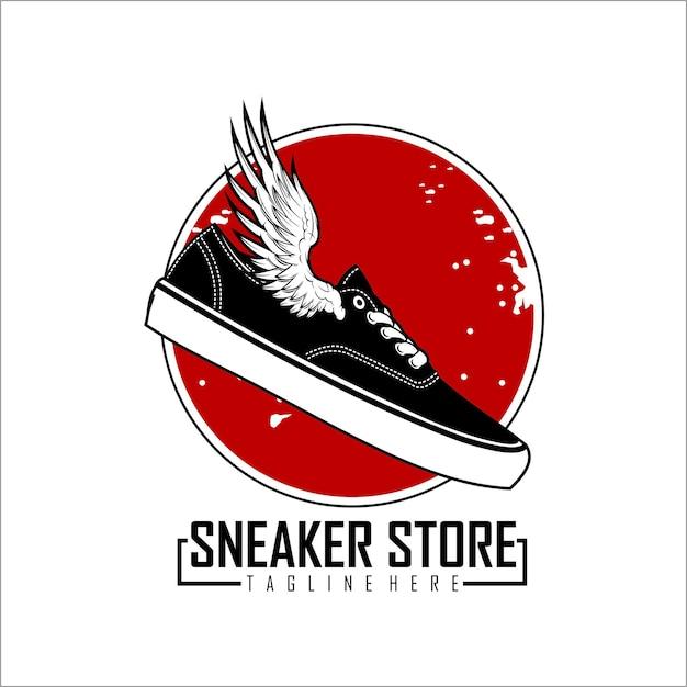Negozio logo sneaker Vettore Premium