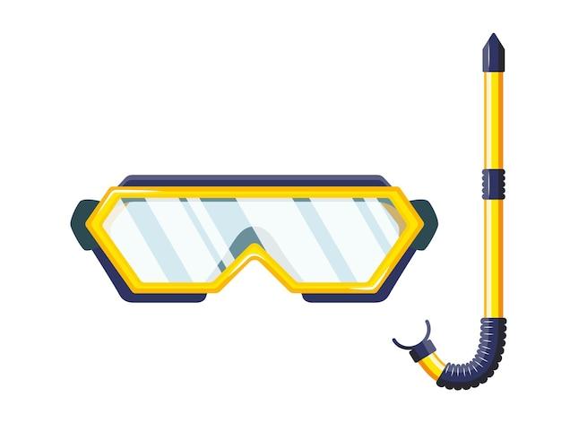 Maschera da snorkeling per immersioni e nuoto. Vettore Premium