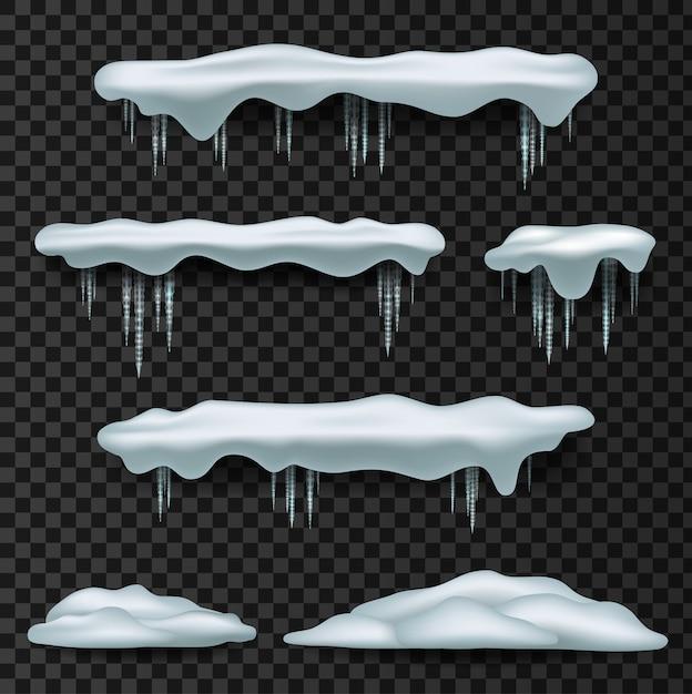 Cappucci da neve. snowcap, mucchio, ghiaccioli, isolato su sfondo, trasparente, ghiaccio, palla di neve e cumulo di neve. Vettore Premium